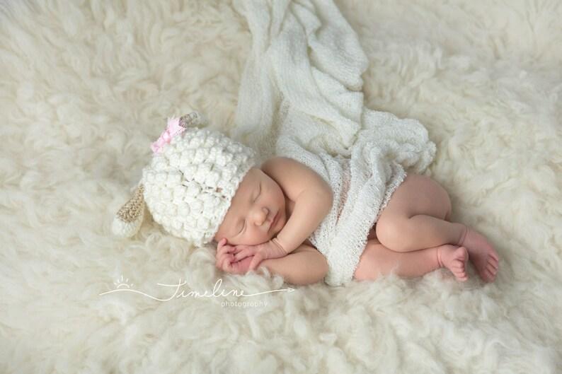 6f42b9d6 Crochet Newborn Baby Lamb Hat/Photo Prop/Baby Shower Gifts/Infant Halloween  Costume