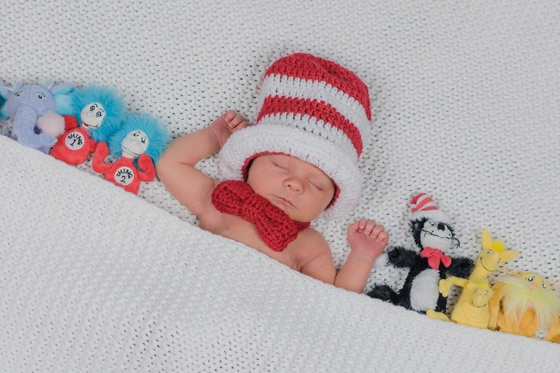 52c941ed Crochet Dr. Seuss Cat In The Hat Hat and Bow Tie Photography  Prop/Newborn/Baby Shower Gift/Infant Halloween Costume/Dr Seuss Cake Smash
