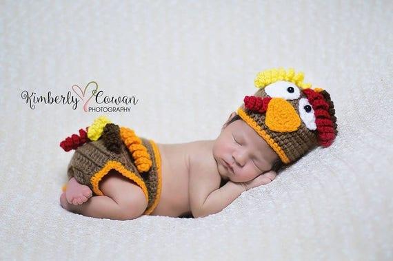 56c7c19d Crochet Turkey Hat Newborn Photography Prop/Baby Shower Gift/Thanksgiving  Photo Prop/Diaper Cover Set/Fall Newborn Photography Prop