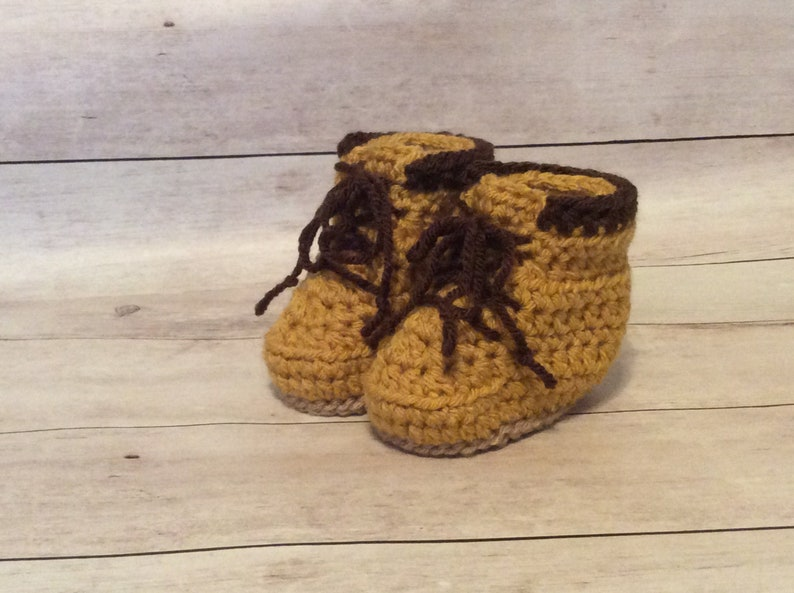 aa5eec6308014 Crochet Baby Work Boots/Baby Construction Boots/Baby Timberland Boots/Baby  Shower Gift/Infant Halloween Costume/Photography Prop/Cake Smash