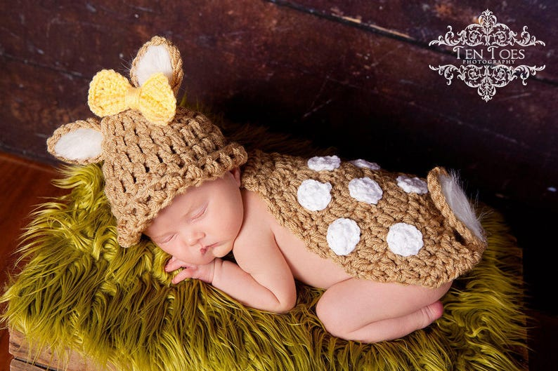 2a97d5f8 Crochet Whitetail Deer Fawn Newborn Photo Prop/Photography Prop/Baby Shower  Gift/Infant Halloween Costume/Critter Cape