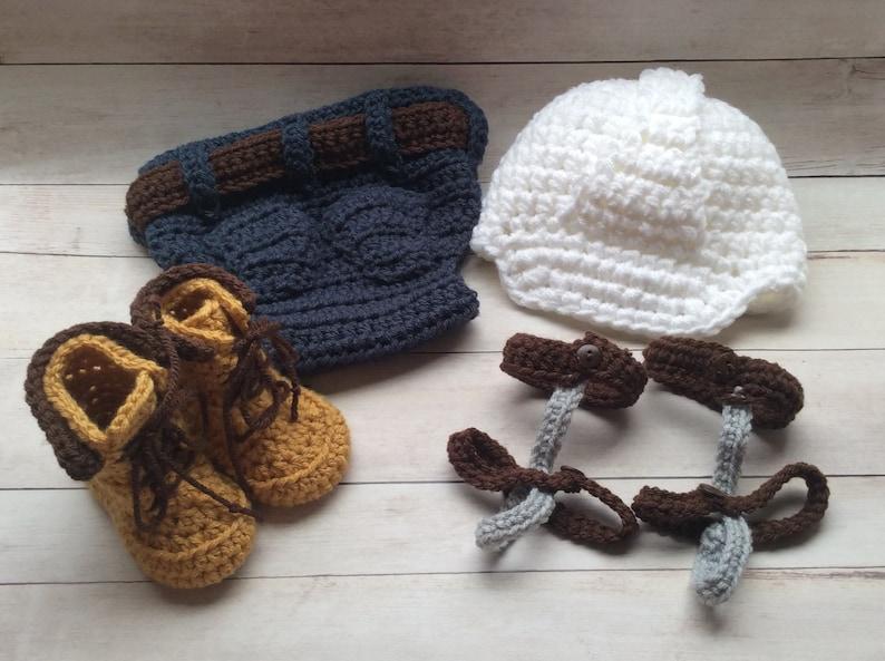 a50596e0 Crochet Baby Lineman Set/Newborn Photo Prop/Photography Prop/Baby Shower  Gift/Infant Halloween Costume/Choose Size/Lineman Cake Smash
