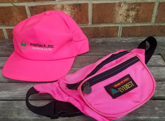 Vintage 80s Trucker Hat and Fanny Pack Neon Pink S
