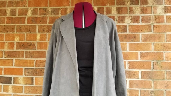 70s Grey Suede Belted Trench By Jerry Silverman