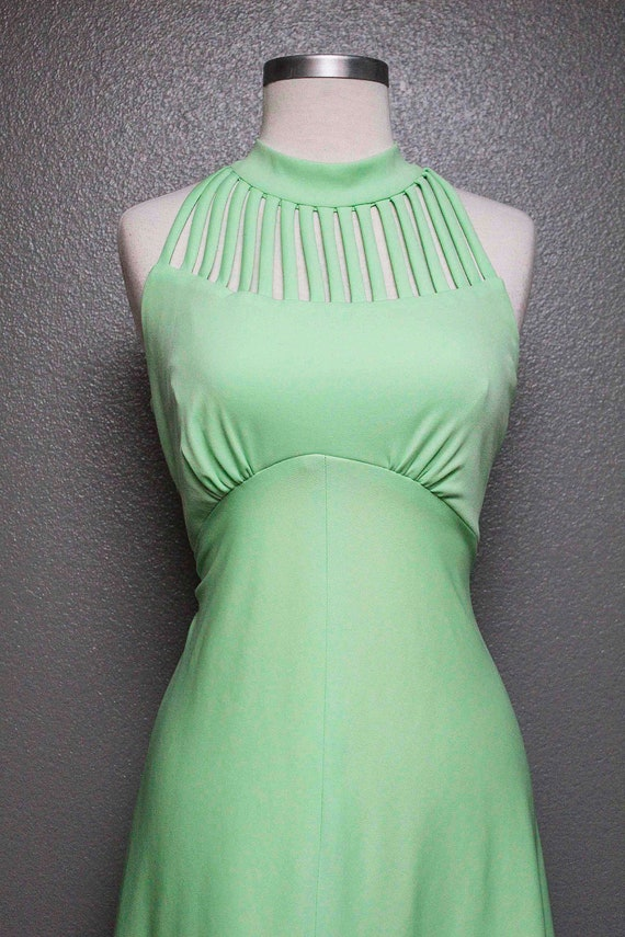 FKVintage 1970s Mint Green Formal Gown/Dress