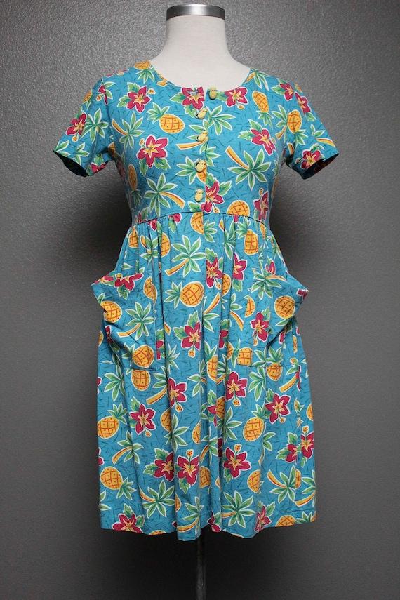 FKVintage 1990s Baby Doll Floral Beach Dress by Ca