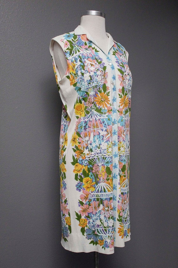 Fkvintage 1960s Button Down Designer Dress/ Floral