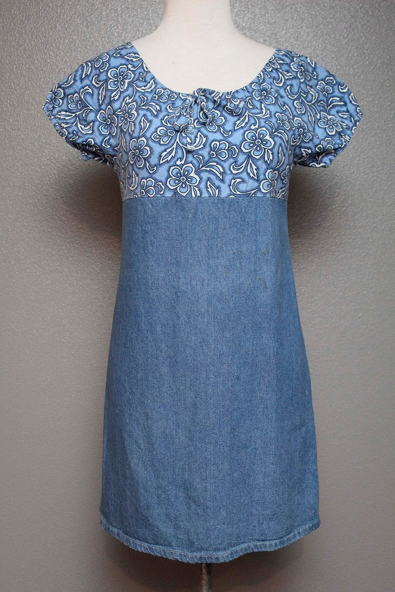 FKVintage 1990s Denim Babydoll Dress by Faded Glo… - image 1
