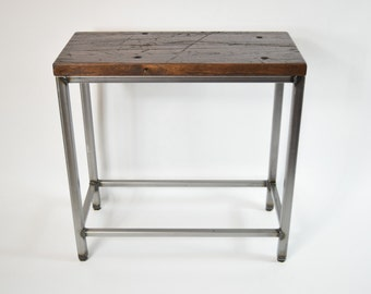 The Matilda Side Table - Industrial Side Table with Rustic Wood Finish, Oak Table, Industrial Modern