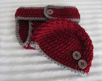Diaper Cover Set, Maroon and Gray Crochet Diaper Cover Set, Newborn Photography Prop, Baby Boy Diaper Cover Set, New Baby Photography Prop