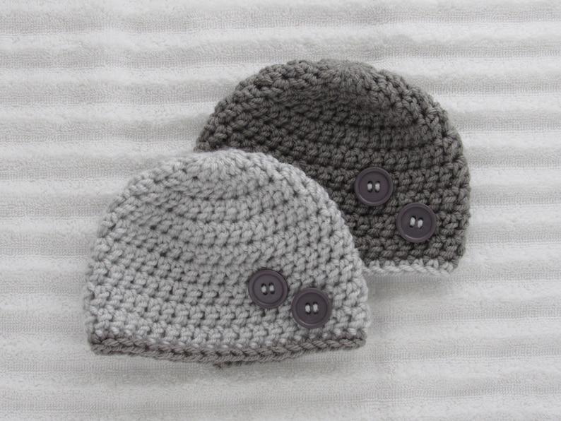 Grey Baby Beanie Set Crochet Baby Beanie Newborn Hat Etsy