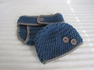 Diaper Cover Set, Blue and Grey Crochet Diaper Cover Set, Newborn Photography Prop, Baby Boy Diaper Cover Set, New Baby Photography Prop