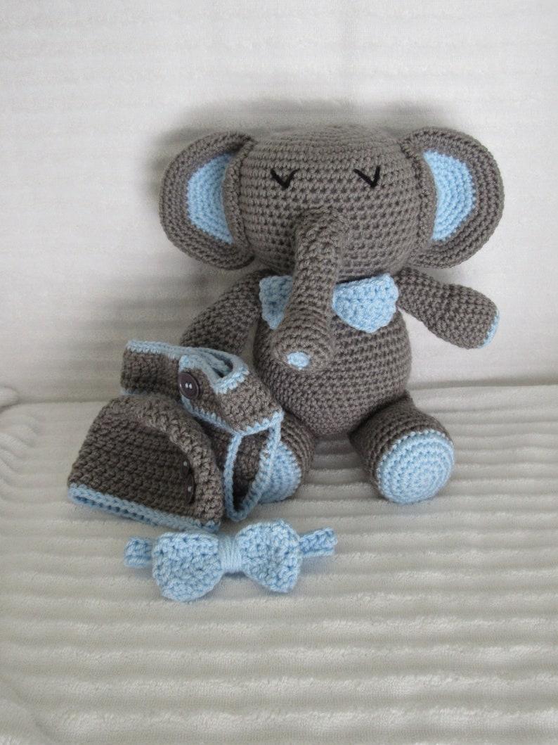 707c7f170ff84 Baby Shower Gift Set, Crochet Elephant Stuffed Animal, Baby Boy Gift Set,  Newborn Diaper Cover, Boy Diaper Cover, Grey and Blue