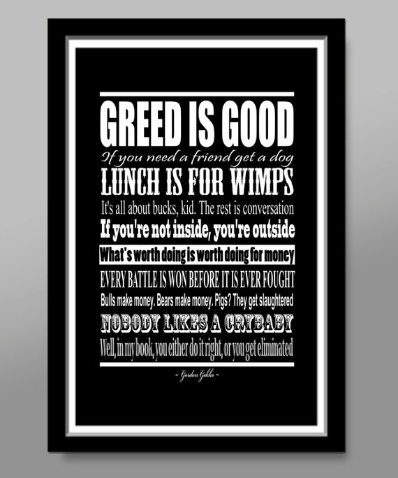 Wall Street Gordon Gekko Quote Poster Print 60 Home Etsy Fascinating Wall Street Quotes