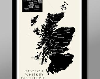 Scotland's Whiskey/Scotch Distilleries Minimalist Map - Home Decor