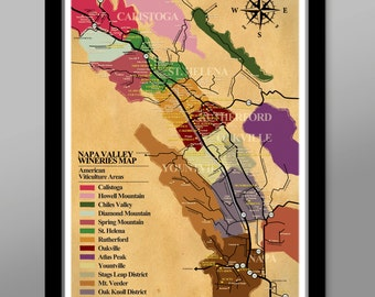 Napa Valley Wineries Poster - (Print 311) - Home Decor