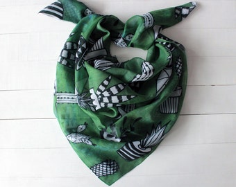 Mothers day gift, Cactus scarf, Hipster scarf, succulent scarf, cactus bandana scarf, green cactus scarf, cactus gift for her, gift for mom