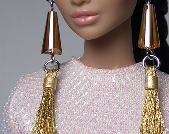687d4ceb7 1/6 Scale Statement Crystal Glass Gold Tassel Style Earrings For FR2 Nu  Face Poppy Barbie Dolls