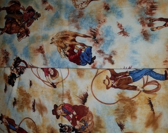 VINTAGE Western Fabric Cowboys Fabric Flannel RETIRED, Very Hard to Find, Spirit of the West Cowboy Boots by Maywood Studio Sold BTFQ