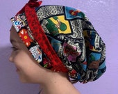 3 Reversible Scrub Cap Long Hair w Ties Ponytail Pouch USA Made Fitted Surgical Cap Medical Head Wrap Nurse Hair Cover Chemo Cap Scrub hat