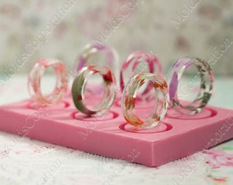 Ring silicone mold, Resin mold, Jewelry mould, Rings mold size US 2 1/4-3-4 1/4-5-5 3/4-6 1/2, Transparent clear flexible mold DIY ring MK15