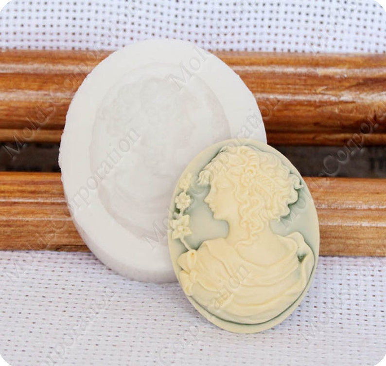 Soap Fondant Wax Pendant Mold Food Safe Molds Resin Molds Polymer Clay Victorian girl oval Cameo Mould \u041c88* Flexible Silicone Mold