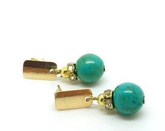 18k gold plated turquoise earrings, gold earrings, turquoise earrings, gold plated jewelry, 18k gold jewelry