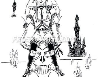 Mature: Skull Rider, nude Dominatrix riding flying skull