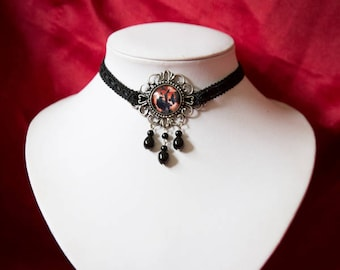 Gothic Halloween black trim Choker with Crows picture glass cabochon and glass pearl beads