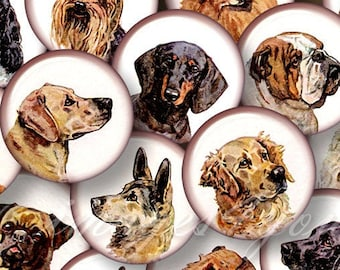 """Vintage Dogs 1 inch round Digital Collage Sheet 1"""" bottle cap images for pendants 30mm, 25mm 1.25"""", 1.5"""" circles printable download cabochon"""