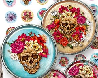 "Sugar Skulls & Roses 1 inch circles bottle cap images Halloween Digital Collage Sheet 30mm 25mm 1.25"" 1.5"" round printable download cabochon"