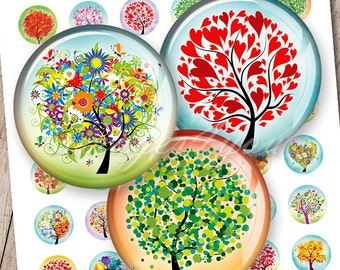 """Tree of Life 1 inch round Digital Collage Sheet 1"""" bottlecap images for pendants 30mm, 25mm 1.25"""", 1.5"""" circles printable download cabochon"""