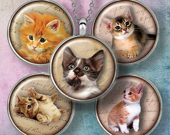"""Kittens & Cats 1"""" bottle cap images 1 inch circles printable download round Digital Collage Sheet for pendants 30mm 25mm 1.25"""" 1.5"""" cabochon"""