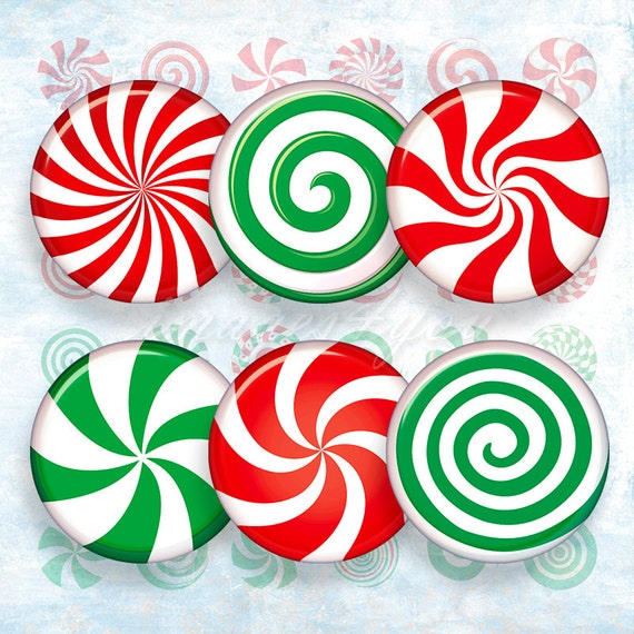 peppermint candy christmas digital collage sheet bottle cap etsy