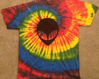 rainbow spiral Dye Alien Head Trippy Rave Tie-Dye T-shirt