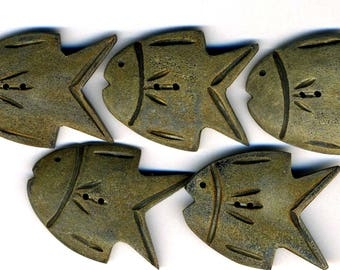 Buttons - Set of 5 Fishes, Large