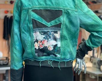 Unique jeans jacket, Medium, upcycling
