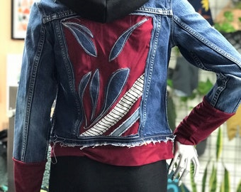"PRE TO DE"" Jacket unique jeans, burgundy, upcycling"