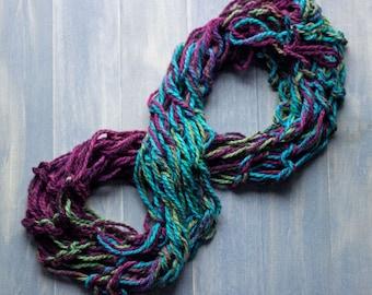 Handmade Armknit Multicolor Infinity Scarf