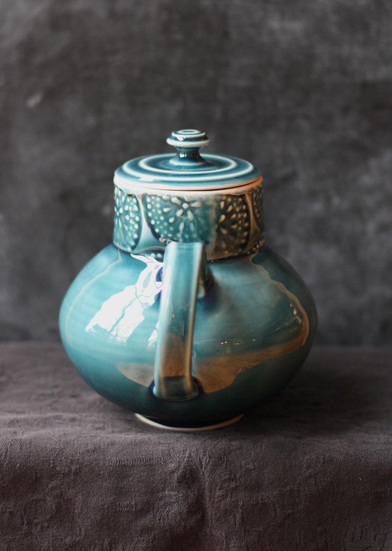 Handmade blue green porcelain teapot