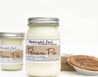 Caramel Pecan Pie Candle | Mason Jar Candle, Scented Soy Candle, Baked Goods, Dessert Scent, Pecan, Holiday Scents, Midnight Owl Candle Co.