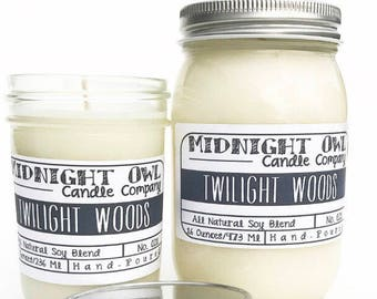 Twilight Woods Mason Jar Candle 8oz or 16oz - scented soy candle - Midnight Owl Candle Co.
