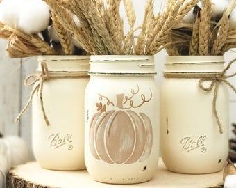 Set Of 3 Hand Painted Mason Jars Autumn Home Decor Fall Etsy