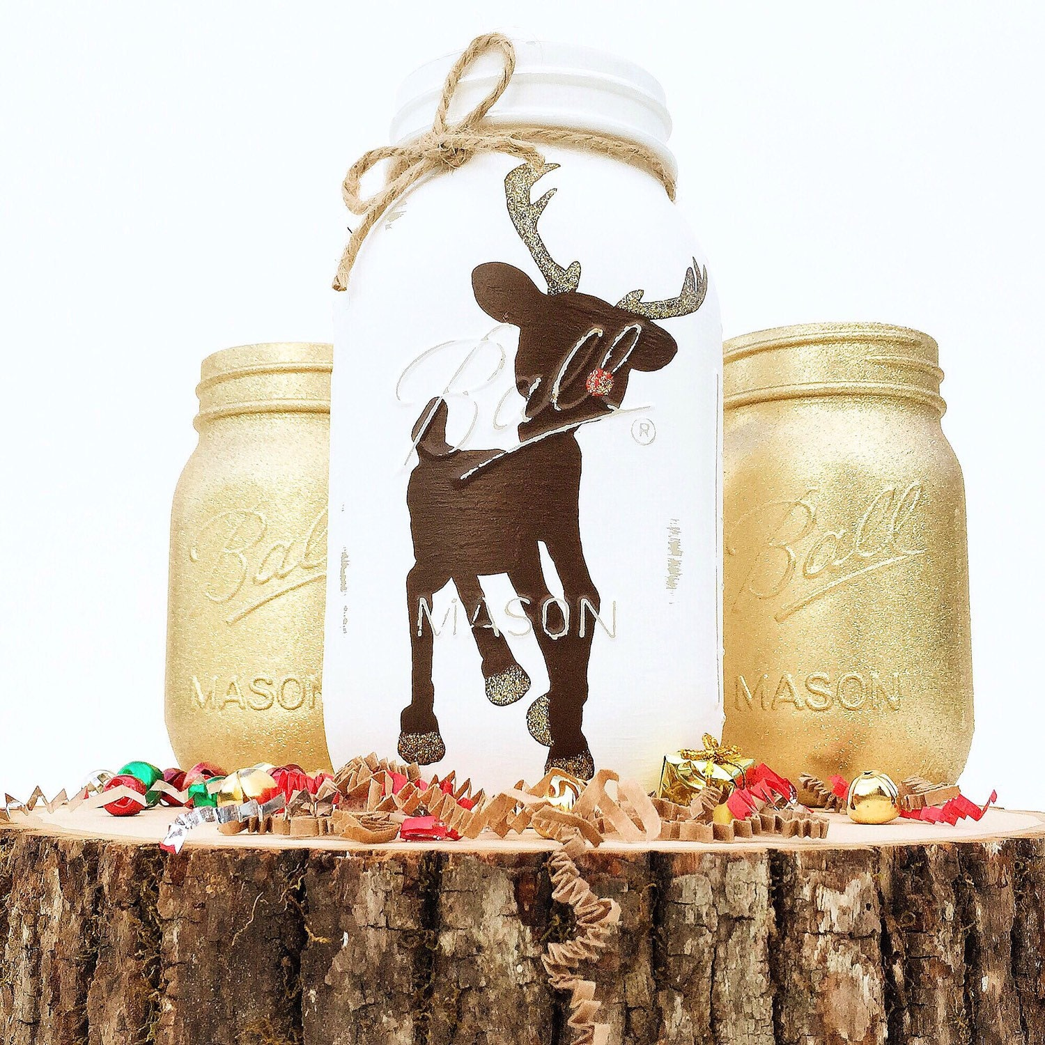 Mason Jar Christmas Decorations: Rudolph Mason Jar Trio Christmas Decor Reindeer Home Decor