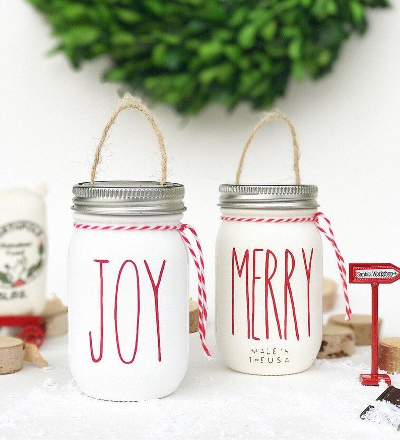 JOY & MERRY | Christmas Ornament, Mason Jar Ornament, Rae Dunn Ornaments,  Farmhouse Christmas Decor, Farmhouse Ornament, Rustic Ornaments
