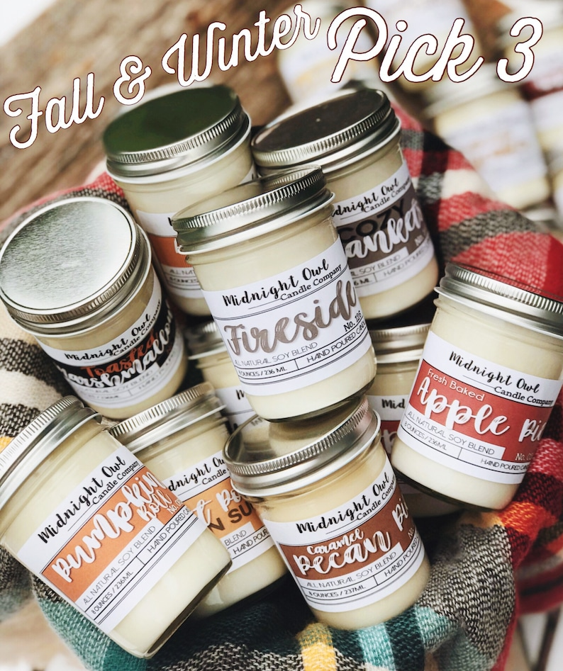 Fall & Winter Scented Soy Candles Fall Candle Gift Eco image 0