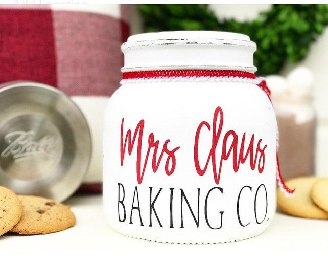 Rustic Cookie Jar Custom Mrs Claus Cookie Jar Christmas Cookie Jar Hot Cocoa Bar Etsy