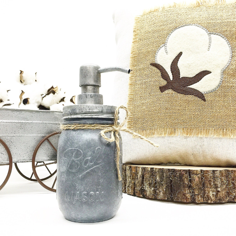 Gifts For A Farmhouse Decor Fan: Galvanized Soap Dispenser Mason Jar Soap Dispenser