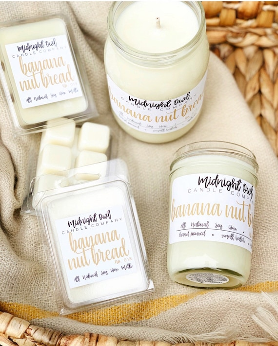 Banana Nut Bread Mason Jar Candle 8oz or 16oz - scented soy candle -  Midnight Owl Candle Co