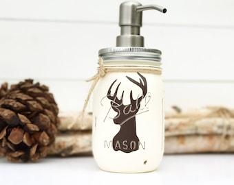 Mason Jar Soap Dispenser, Rustic Decor, Deer, Mason Jars, Woodland deer, Stag Head, Hunting, Rustic, Country, Cabin, Antler Decor, Deer Bath